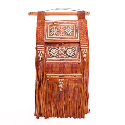 North African Leather Bag with Geometric Dyed Leatherwork Motif