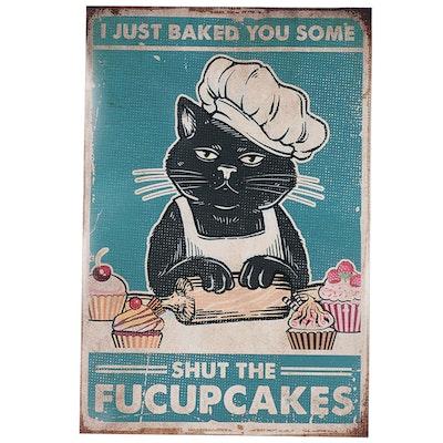 Giclée of Black Cat Baking Cupcakes, 21st Century