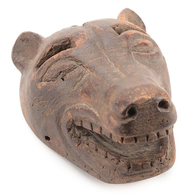 Mexican Carved Wood Bear Mask, 1930s