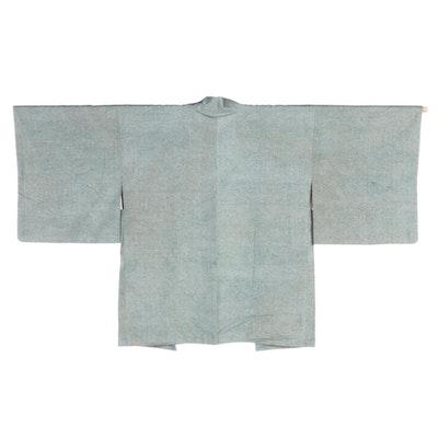 Green Woven Abstract Mizu Patterned Haori, Shōwa Period