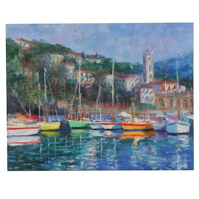 "Nino Pippa Oil Painting ""Italian Riviera-Bordighera,"" 2016"