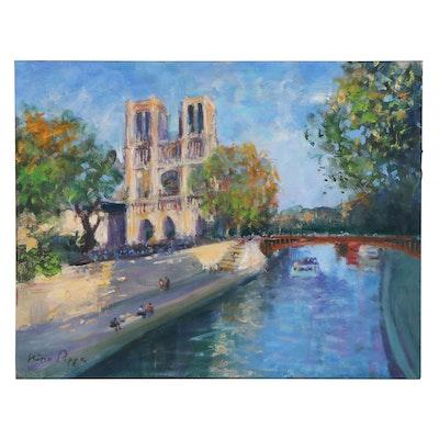 """Nino Pippa Oil Painting """"Paris - Notre Dame,"""" 2015"""