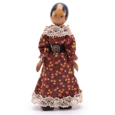 Polish Style Handmade Wooden Peg Doll, Mid-20th Century