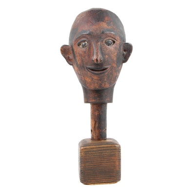 Southeast Asian Carved Wood Figural Hand Puppet