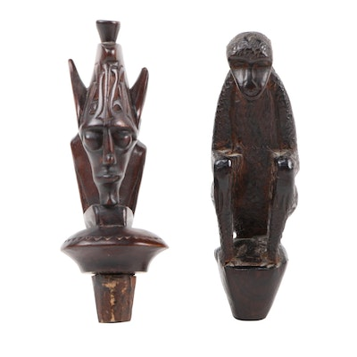 Dayak Style and Makonde Animal Form Wooden Toppers