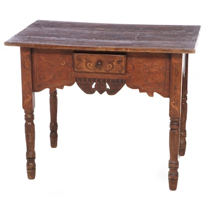 Peruvian Mahogany and Marquetry Single-Drawer Side Table