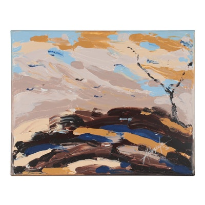 "Adedotun Adesida Abstract Acrylic Painting ""On The Mountain-Top,"" 2021"