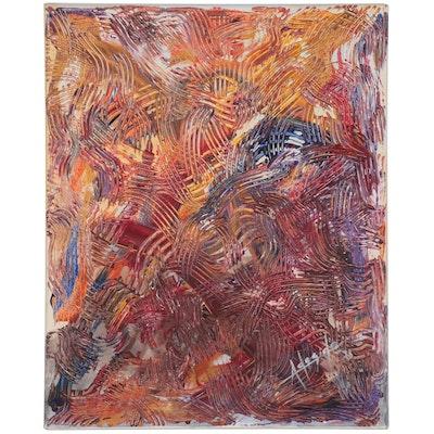 "Adedotun Adesida Abstract Acrylic Painting ""The Etches,"" 2021"