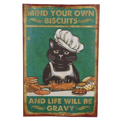 """Giclée Poster of Bad Black Cat """"Mind Your Own Biscuits"""""""