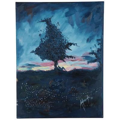 "Adedotun Adesida Abstract Acrylic Painting ""The Dawn,"" 2021"