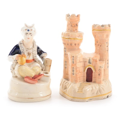 Staffordshire Ceramic Sultan Pen Holder and Castle Spill Vase, Mid-Late 19th C.