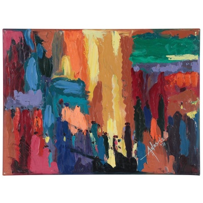 "Adedotun Adesida Abstract Acrylic Painting ""Flee Market,"" 2021"
