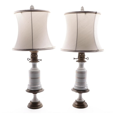 Gilt Porcelain and Brass Converted Oil Lamps