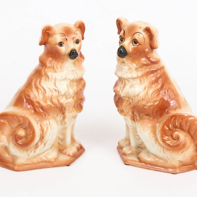 Pair of Staffordshire Ceramic Dogs with Glass Eyes, Early to Mid 20th Century