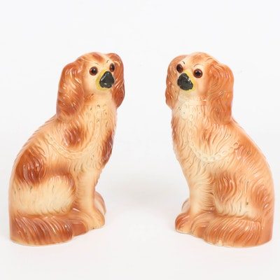 Staffordshire Ceramic Spaniels with Glass Eyes, Early to Mid 20th Century
