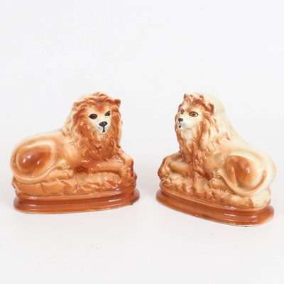 Staffordshire Ceramic Recumbent Lion Figurines with Glass Eyes