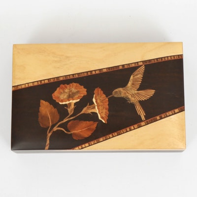 Acre Marquetry Wood Marquetry Hummingbird Vanity Box, Late 20th Century