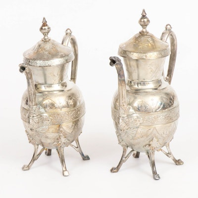 Simpson, Hall, Miller & Co. Silver Plate Hot Chocolate Pots, 19th Century