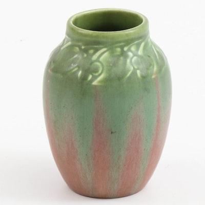 Rookwood Pottery Green Over Rose Matte Glazed Ceramic Vase, 1930