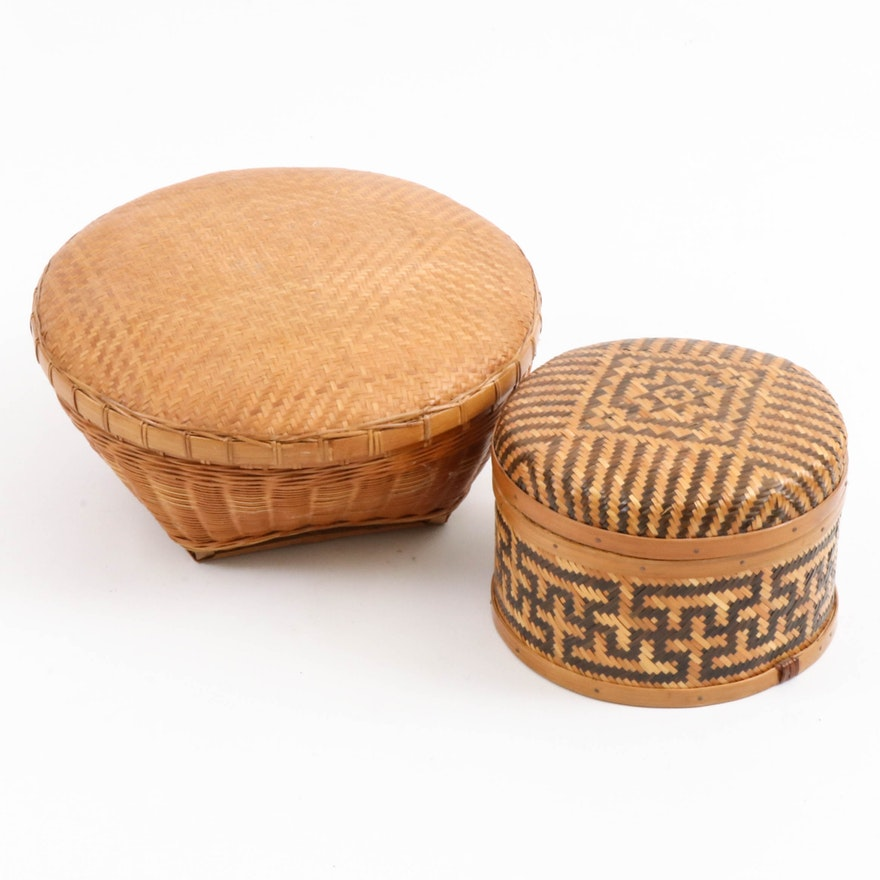 Handwoven Bamboo, Rattan and Grass Baskets with Lids, Late 20th Century