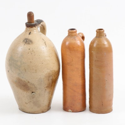J. Friedrich Grosskarben Clay Mineral Water Bottles and Other Ovid Stoneware Jug