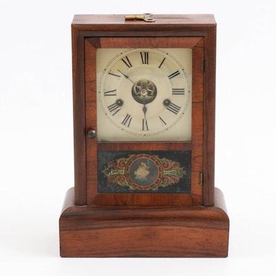 Seth Thomas Walnut Mantel Clock with Reverse Painted Glass Door