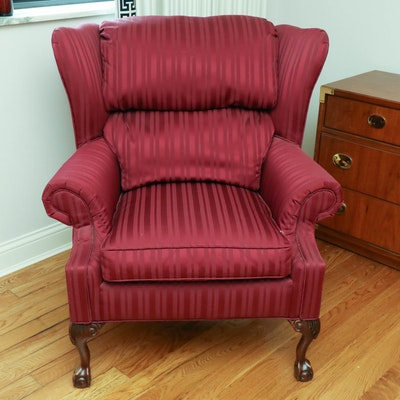 Rowe Furniture Chippendale Style Damask Stripe Upholstered Wingback Chair