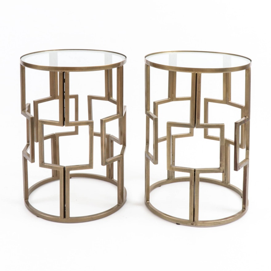 Pair of Modernist Style Gilt-Metal Linear Cage and Glass Top End Tables