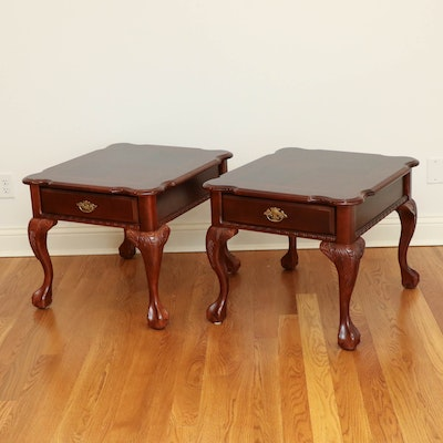 Pair of Chippendale Style End Tables on Carved Ball and Claw Feet
