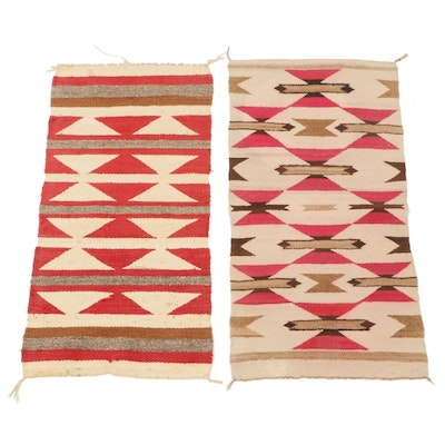 1'6 x 3' Handwoven Navajo Western Reservation Wool Accent Rugs, Mid-20th Century
