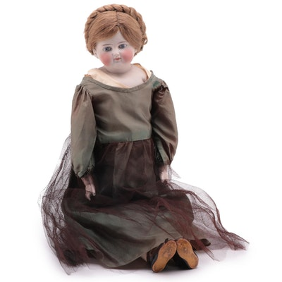 """Early Unsigned Kestner Solid Bisque Dome """"Helen"""" Doll, Circa 1880"""