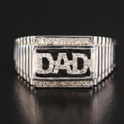 "Sterling Diamond ""Dad"" Ring"