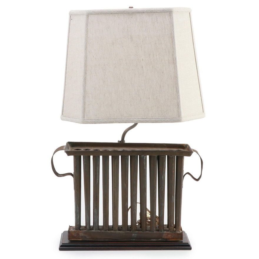 American Tin Candle Mold Table Lamp, Early 19th Century and Adapted