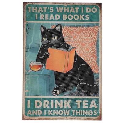 Giclée of Black Cat Drinking Tea, 21st Century