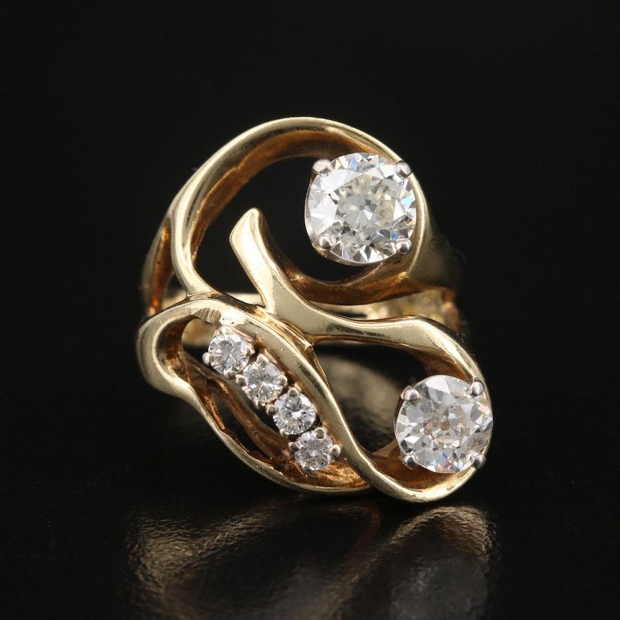 14K 1.82 CTW Diamond Freeform Ring