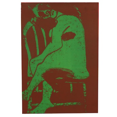 """Thomas Norulak Lithograph """"Seated Nude - Red on Green,"""" 1970"""