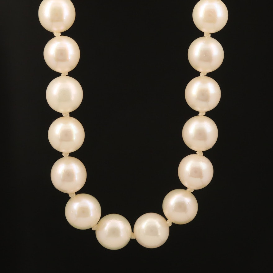 Matinee Length Strand of Pearls with 14K Clasp
