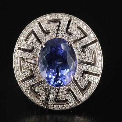 14K 6.32 CT Tanzanite and Diamond Ring