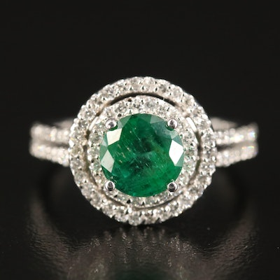 14K 1.42 CT Emerald and Diamond Double Halo Ring