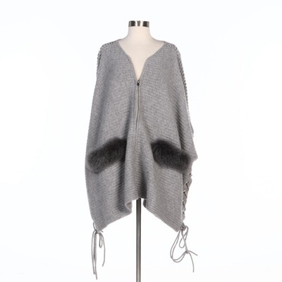 Mitchie's  Wool Poncho with Zipper Front, Fox Trim and Lacing to the Sides