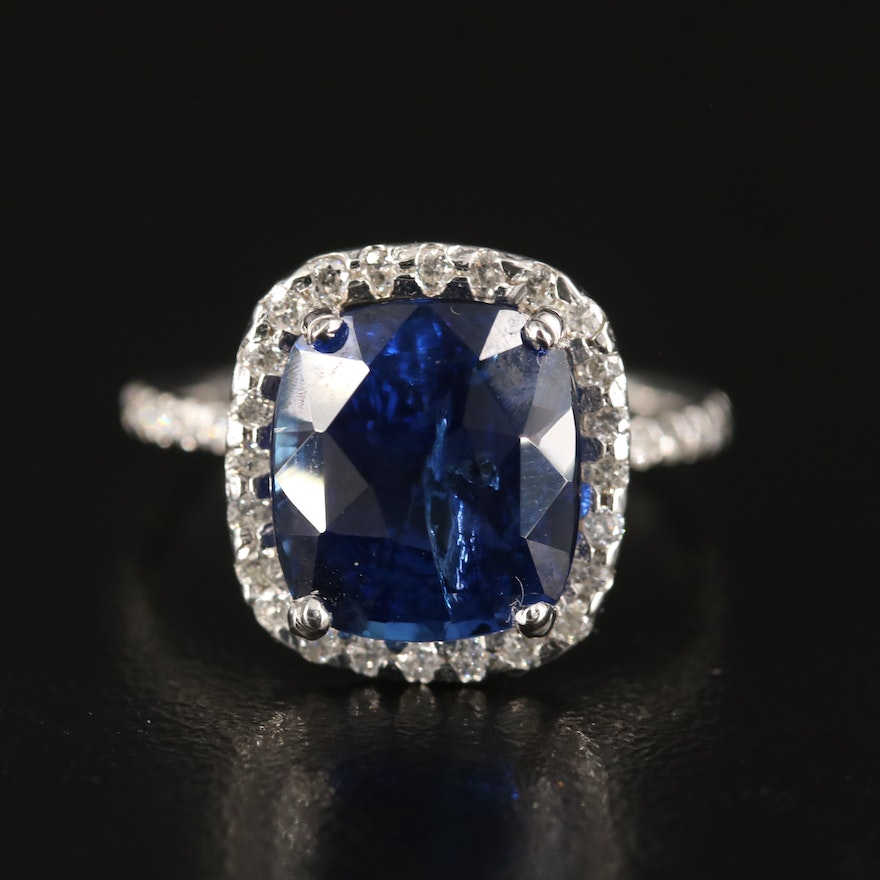 14K 5.97 CT Sapphire and Diamond Ring with GIA Report