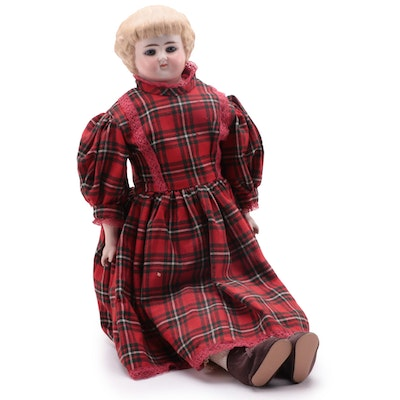 """Bonnie """"Highland Mary"""" German Bisque Porcelain and Cloth Doll, 1890s"""