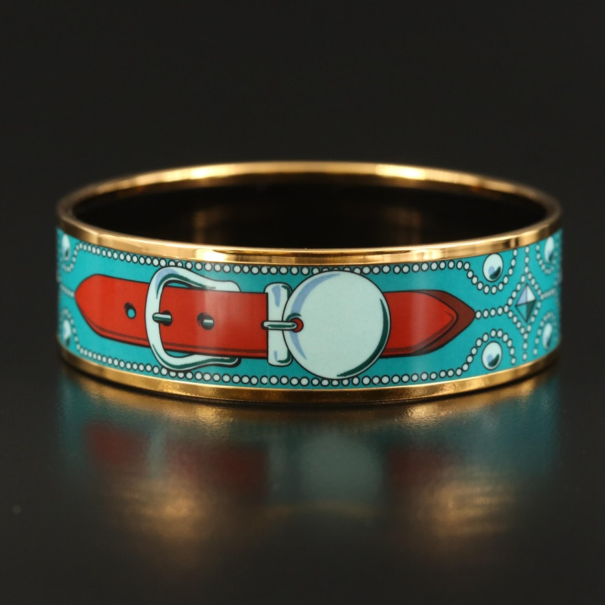 Hermès Enamel Bangle with Belt Motif