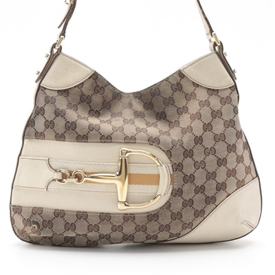 Gucci Hasler Horsebit Hobo Bag in GG Canvas with Off-White Leather Trim