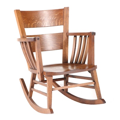 Arts and Crafts Oak Rocking Chair, Early 20th Century