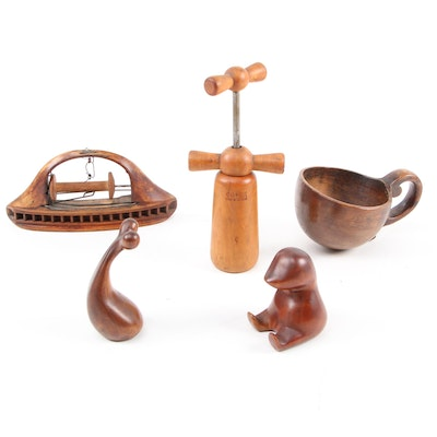 Ribbon Weaving Loom Shuttle, Copex Corkscrew, and Carved Wooden Cup and Figures