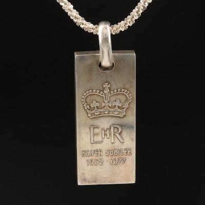 Sterling Queen Elizabeth II Silver Jubilee Commemorative Ingot Pendant Necklace