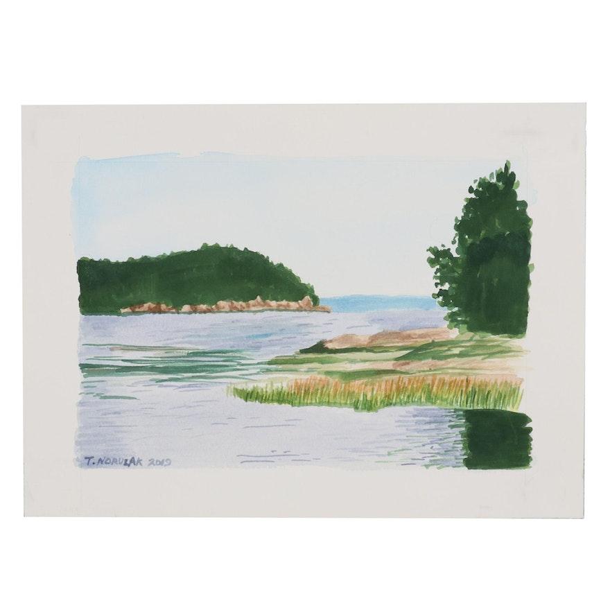 """Thomas Norulak Watercolor Painting """"Penobscot Bay"""", 2019"""