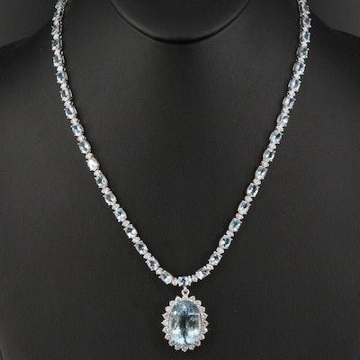 14K 17.72 CT Aquamarine and 2.86 CTW Diamond Pendant Necklace