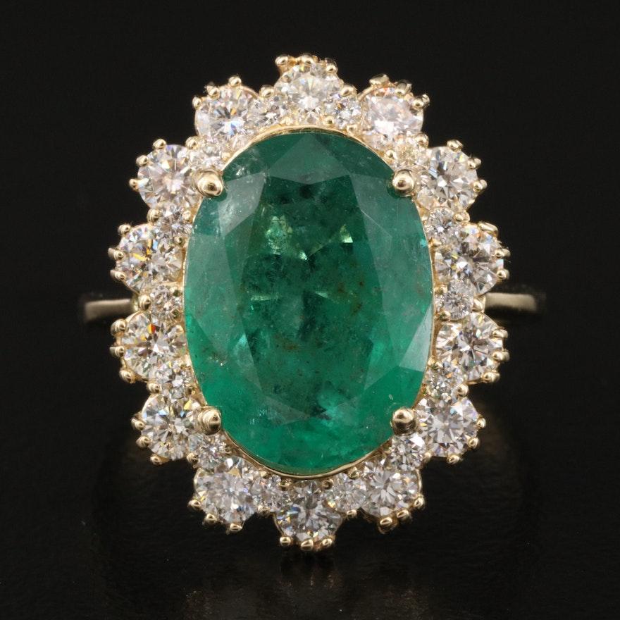 14K 5.43 CT Emerald and 1.52 CTW Diamond Ring